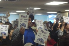 "SEIU 26 janitors vote ""yes"" to authorize a strike"