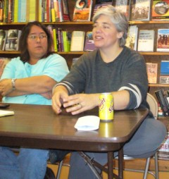 Linden Gawboy (left) , Welfare Rights Committee and Steff Yorek of Freedom Road