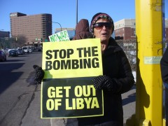Sarah Martin at March 25 anti war protest.