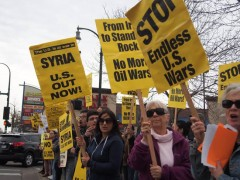 Minneapolis protest against missile attack on Syria.