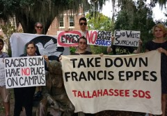 SDS protests honoring slaveholder on campus.