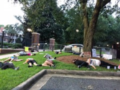 Protesters stage die-in to protest reopening of schools during covid-19 pandemic