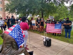 Students demand removal of the statue of slaveholder Francis Eppes.
