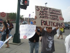 Protest vs Target funding of Emmer campaign, Aug. 5 in Mpls