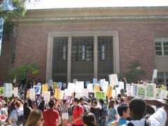 Photo of hundreds of students rallying at UCLA.