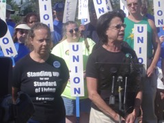 Two AFSCME leaders addressing Labor Day Rally.