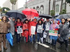 Striking UTLA members and supporters at City Hall.