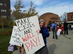 Protest outside Wells Fargo CEO Jon Stumpf's speech at University of Minnesota