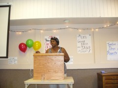 Deb Howze of the Welfare Rights Committee at Aug. 9 celebration.