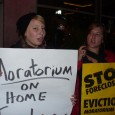 Picketers demand a moratorium on home foreclosures.