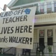 Banner at home of anti-Walker protester