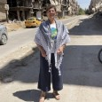 Amal Wahdan, visiting from Ramallah, Palestine, in Yarmouk camp.