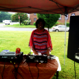 Annette D. Hayes playing music for the event.