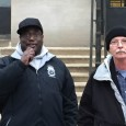 Teamster Mike Johnson (left) speaking at Nov. 17 rally for real raise