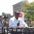 James Andrews, President of the NC AFL-CIO, speaking in front of the crowd