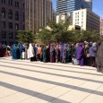 Supporters of Amina Ali and Hawo Hassan in front of MN  Federal Courthouse.