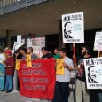 Southern California Immigration Coalition at rally against raid on Carlos Montes