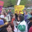 Another photo of students and workers at a mass rally.