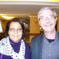 A photo of Leila Khaled with Fight Back editor Mick Kelly.
