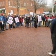 Lewis Cameron, President of IAM Local 369, addresses the crowd