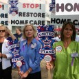 Home care and hospice workers rally against cuts to social services.