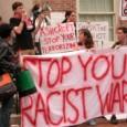 Students protesting John Ashcroft.