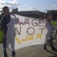 "SDS banner: ""Wages Not War."