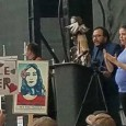 Moroni Benally with Utah League of Native American voters addresses protesters