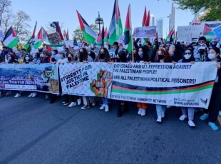 Marching for Palestine in Chicago.