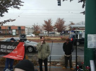 Dustin Defa, cousin of Cody Belgard, addresses the crowd at a rally on Nov. 17